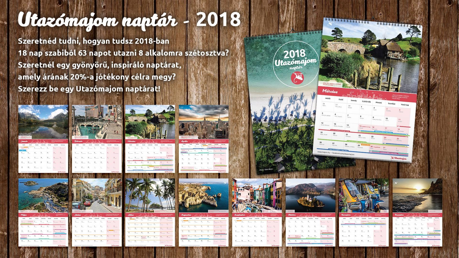 Utazómajom naptár 2018